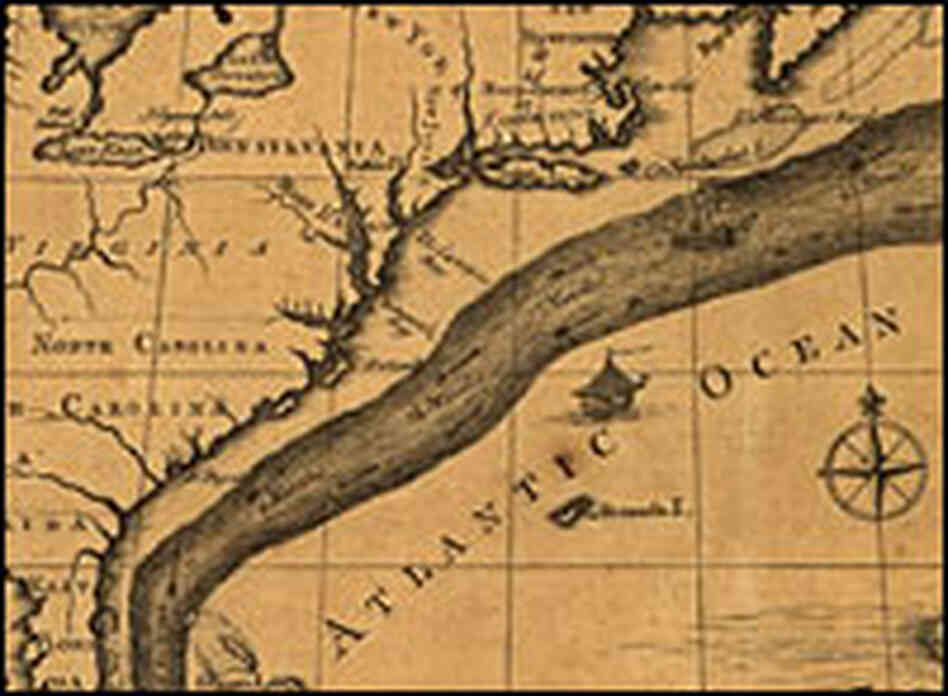 A chart of the Gulf Stream based on Ben Franklin's sketches, circa 1786.