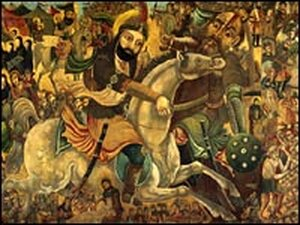 A painting depicts the battle of Karbala in 680, in which Imam Hussein engaged a superior Arab army.