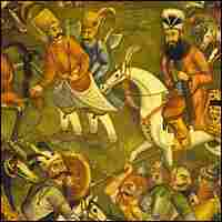 A painting depicts Persian warfare during the Safavid dynasty period.