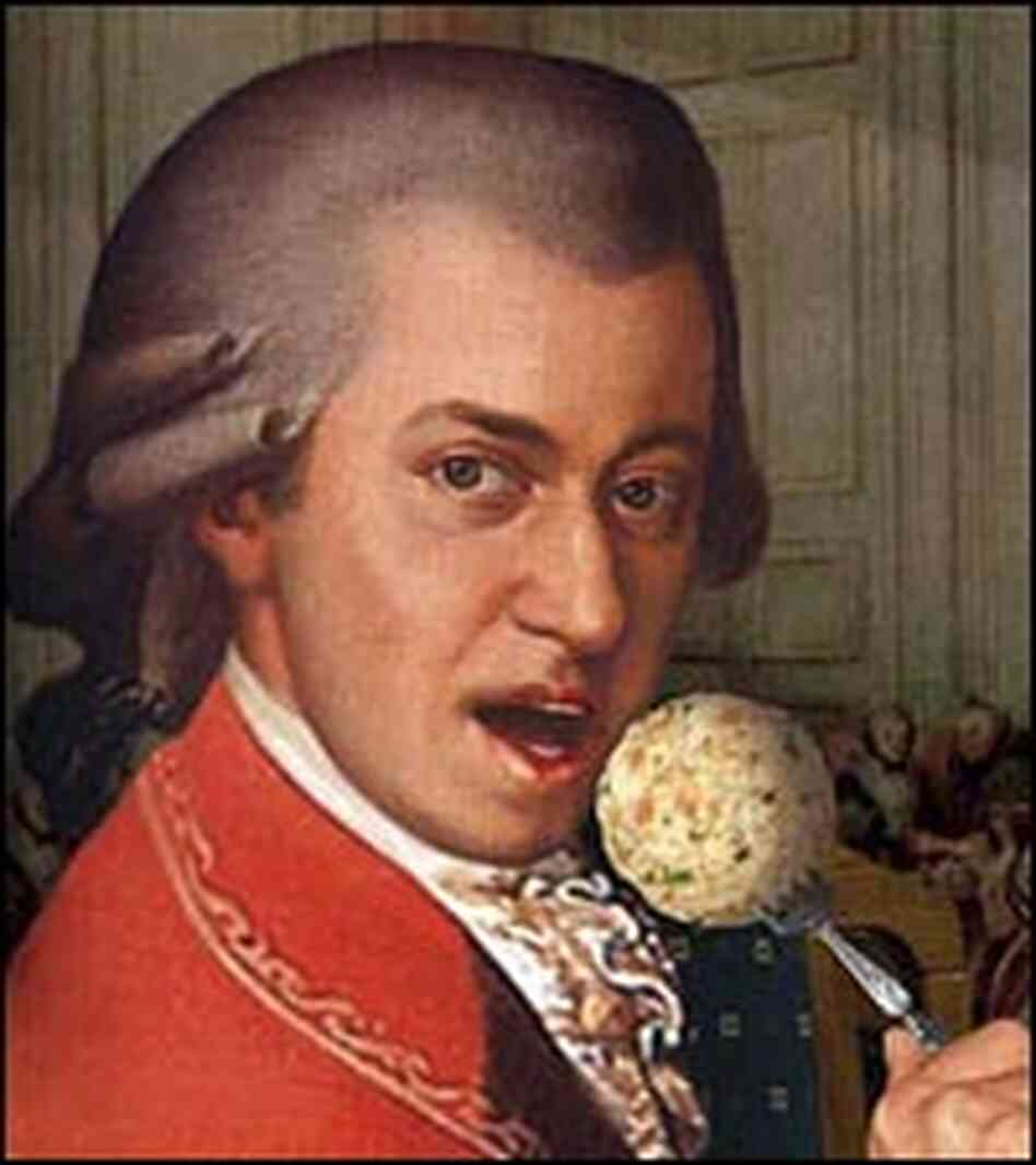 Mozart holds a liver dumpling, from the cover of Kurt Palm's 'Wolfgang is Fat and in Good Health'
