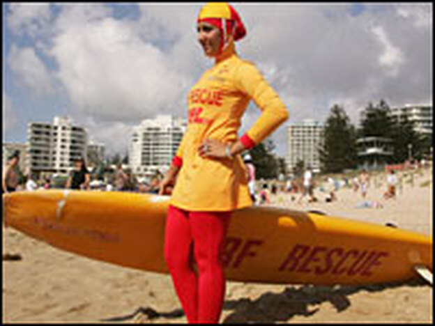 A lifeguard in Australia wears a burqini. The swimsuit is in compliance with the teachings of Islam.