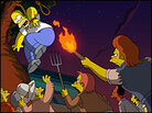 Homer and the Simpsons in a tree, mob waving torches and pitchforks