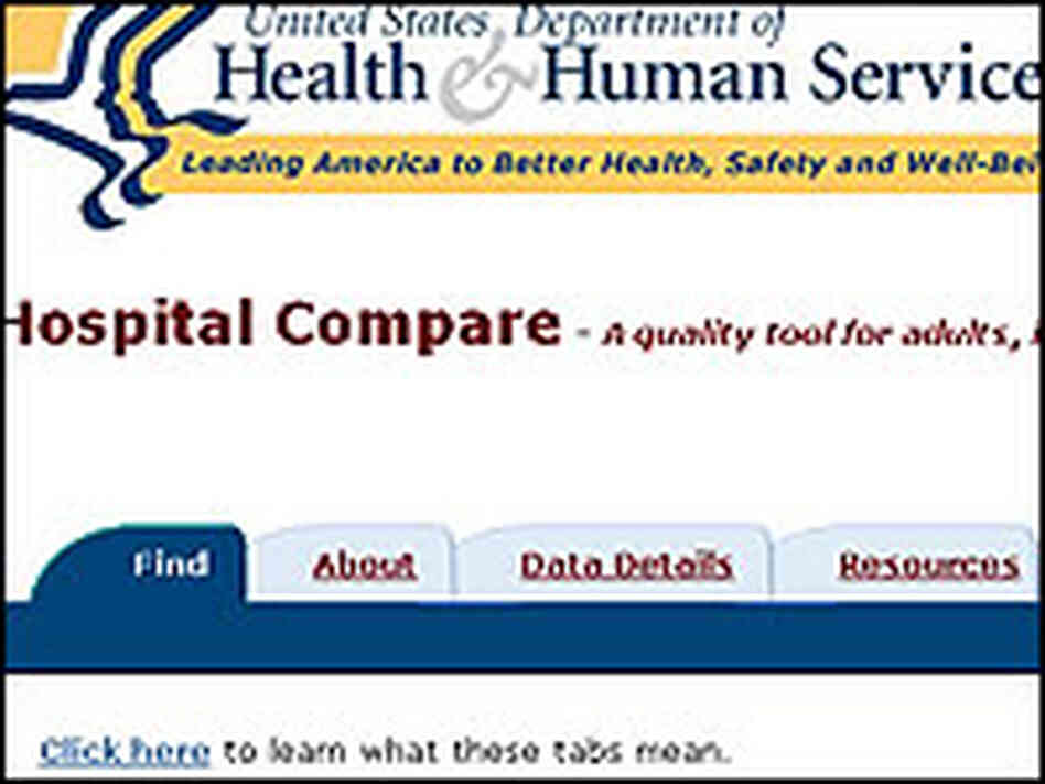 "The front page of Medicare's new ""Hospital Compare"" Web site."