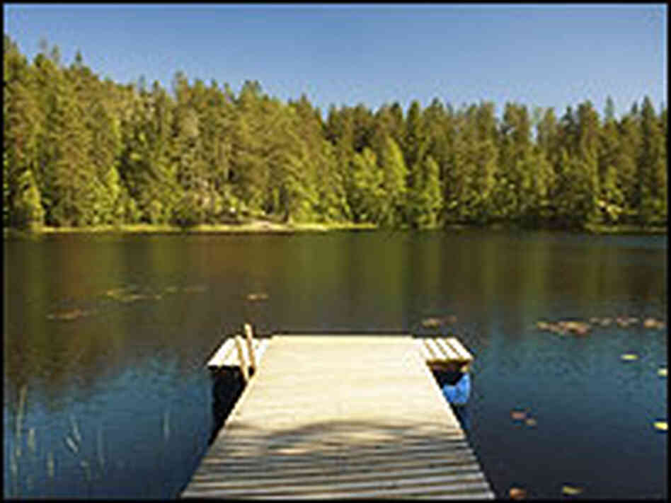 A dock in a lake.