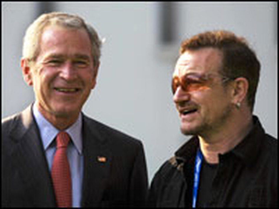 President Bush (left) was among several world leaders that Bono lobbied on the sidelines of the Group of Eight summit in Heiligendamm, Germany.