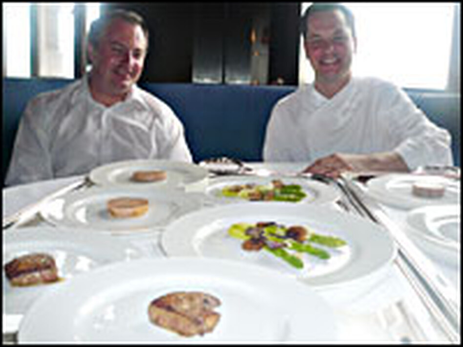 Top chefs Eric Johnson and Stefan Stiller carry out NPR's blind taste test of goose liver paté and truffles.