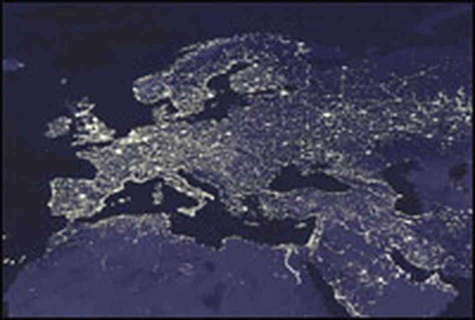 Satellite image of Europe at night.