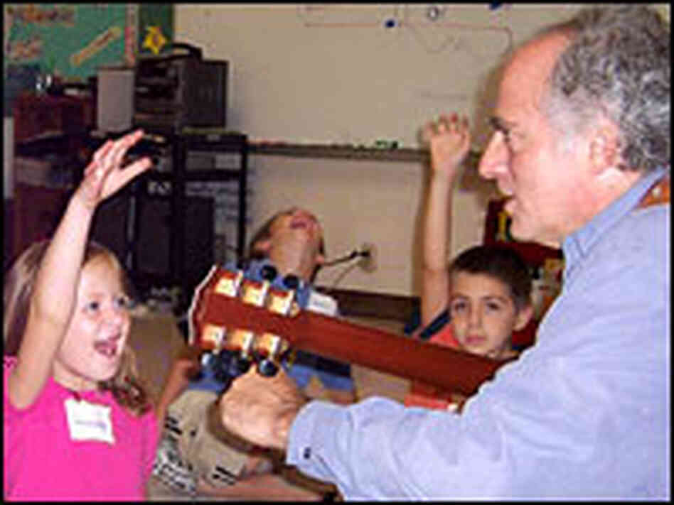 Paul Reisler conducts a songwriting workshop at Nolensville Elementary School, near Nashville, Tenn.