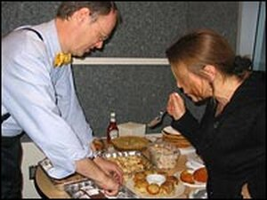 Chris Kimball and Renee Montagne sample some of the contest recipes.
