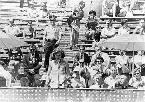 Eunice Shriver speaks at the first Special Olympics, in 1968.