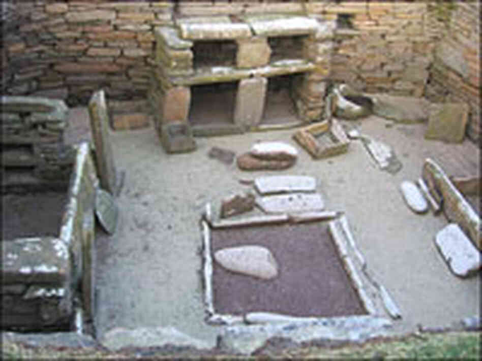 The interior of a prehistoric stone house.