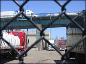 Trucks park Under Ambassador Bridge