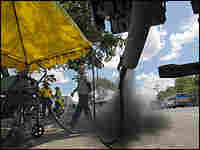 A truck's emissions are tested in Manila, the Philippines.