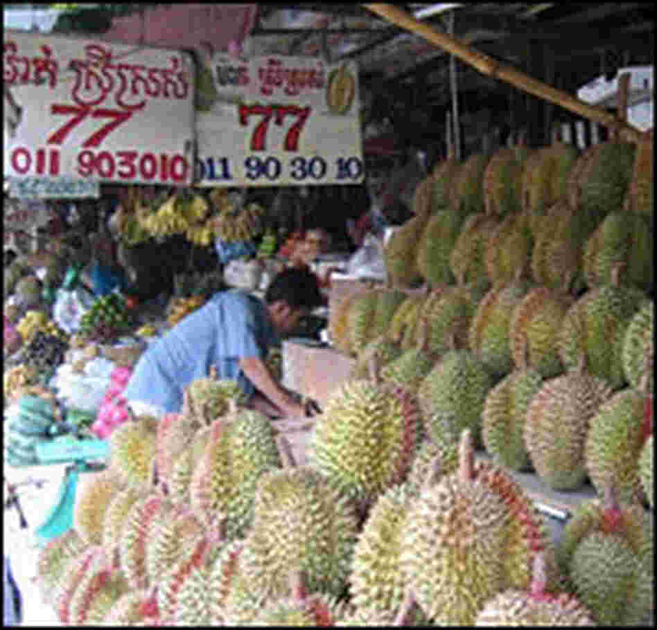 Durians, popular in Asia, are sold on a street in Phnom Penh, Cambodia.