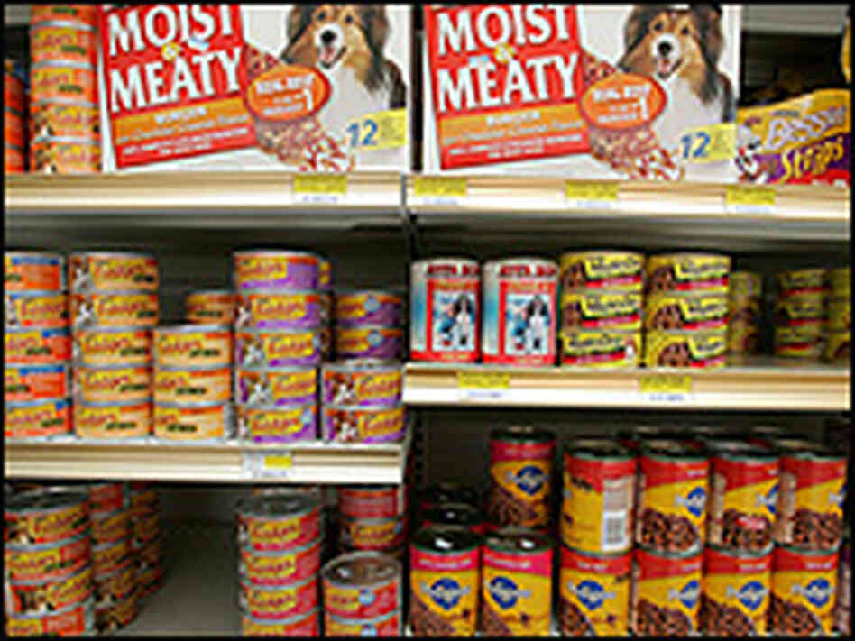 Pet food on a store shelf.