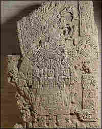 A limestone monument of a Maya king