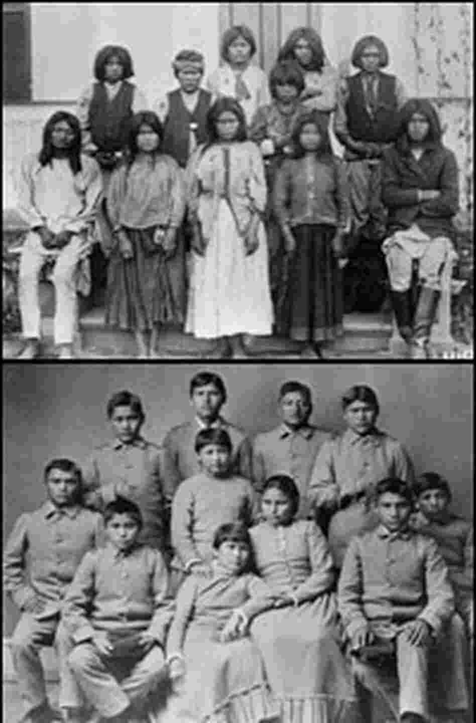 A group of Chiricahua Apache students at Carlisle Indian school.