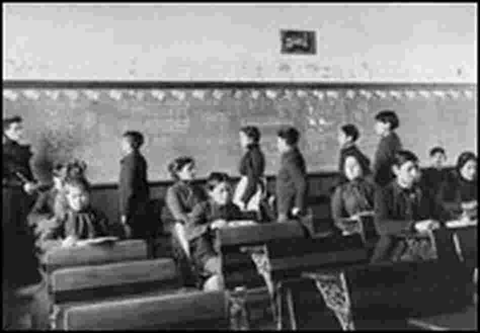 Students in a math class at Carlisle Indian School in 1903.