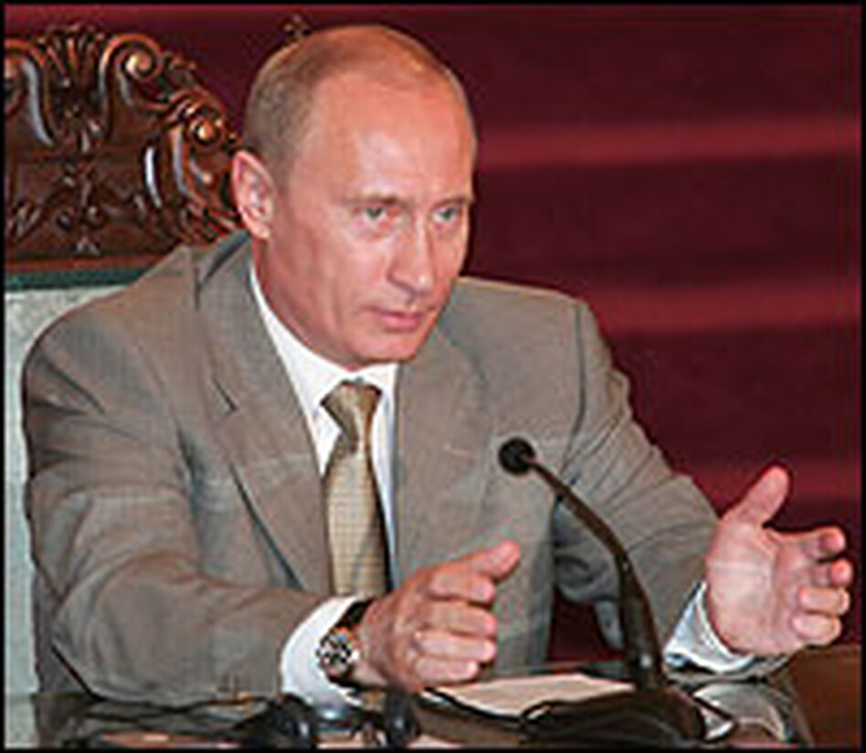 Russian President Vladimir Putin speaks at a recent press conference. Putin has called the collapse of the Soviet Union the greatest catastrophe of the 20th century.
