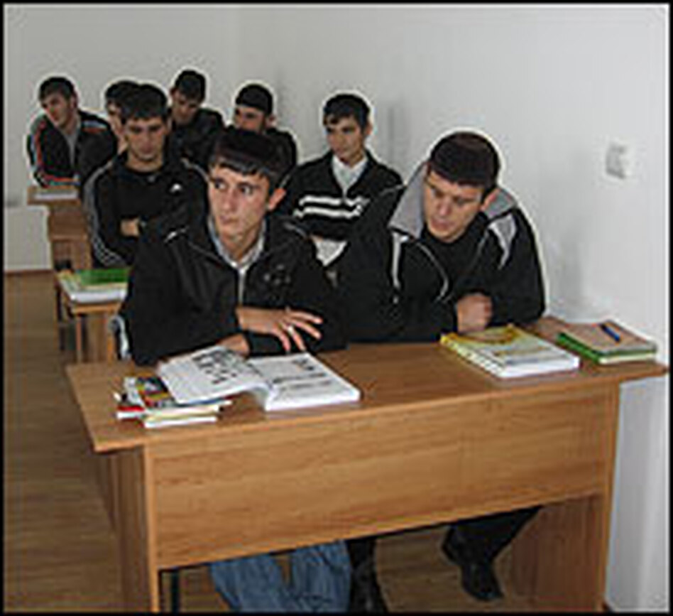 Students study the Arabic language in a new Islamic college outside Grozny.