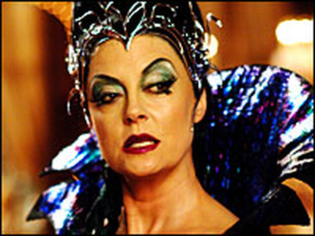 Magically delicious: Susan Sarandon goes merrily over the top — shiny red apple and all — as the wicked Queen Narissa.