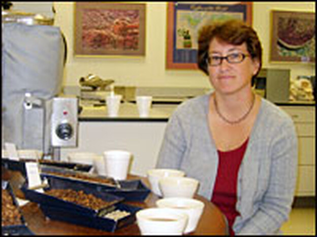 Tracy May Adair holds the grand title of master coffee cupper for Folgers.