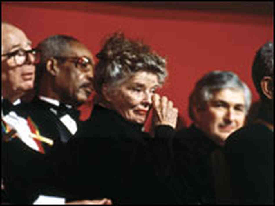 Katharine Hepburn is moved to tears by the tributes paid to her at the Kennedy Center in 1990.