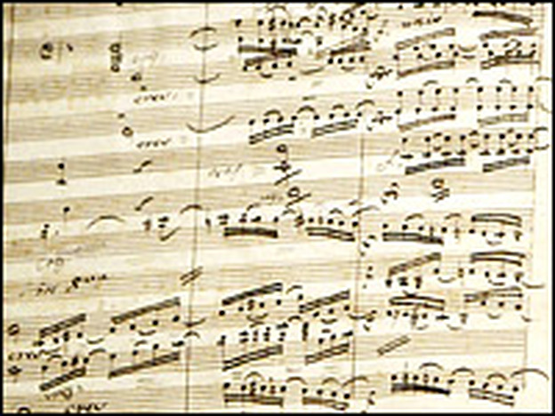 A page of Beethoven's manuscript to his Symphony No. 9.