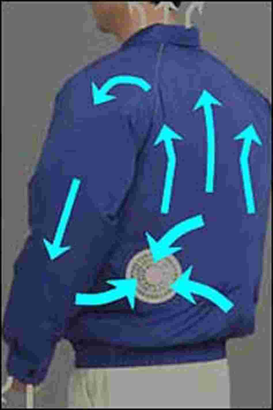 An inflated blue Meadownics jacket.