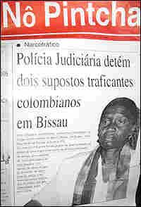 A newspaper headline on drug trafficking