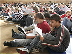 Middle School Students at an assembly