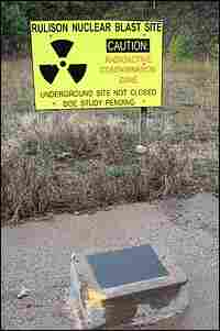 A sign warns of radioactive contamination near the federal government's Rulison blast site.