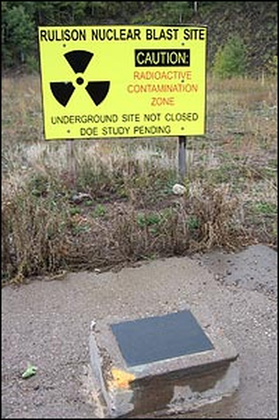 A sign warns of radioactive contamination near the federal government's Rulison blast site near Parachute, Colo.