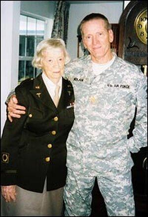 Kate Nolan stands with her son Maj. Steve Nolan