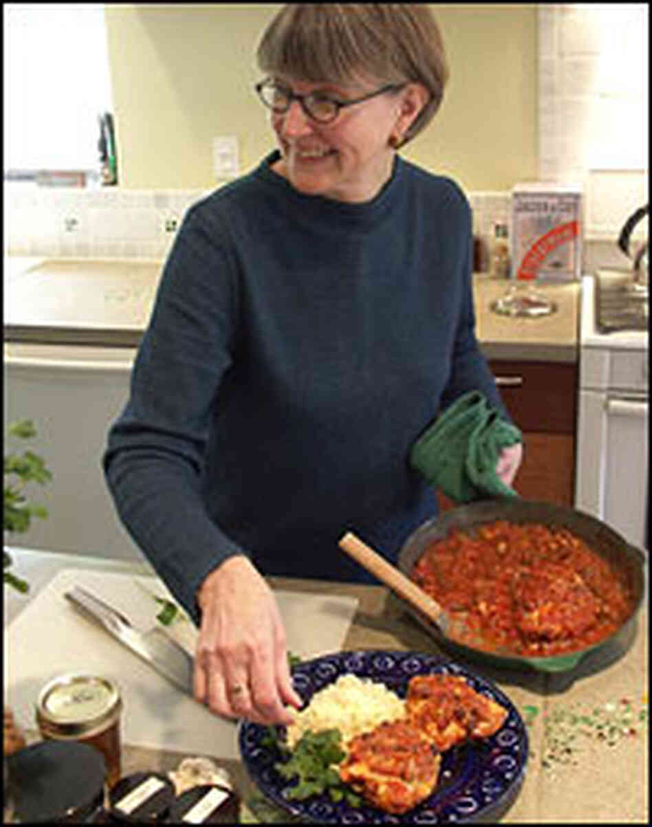 Ellie Mathews prepares her salsa couscous chicken dish, which won the Pillsbury Bake-Off.