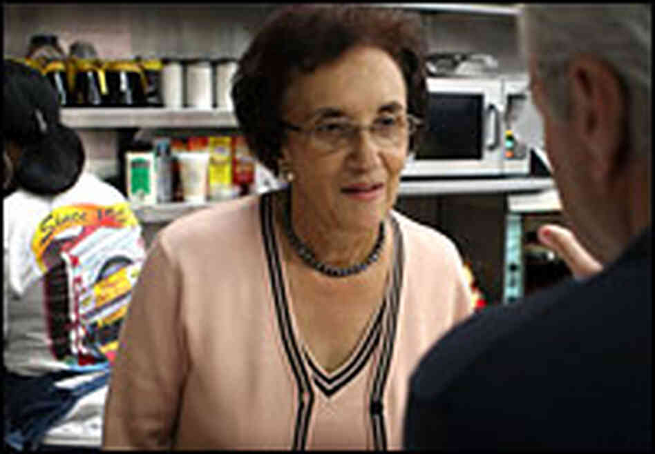 Virginia Ali, co-owner of Ben's Chili Bowl, talks to a customer.
