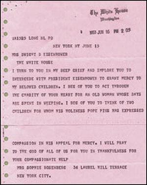 Sophie Rosenberg's June 1953 telegram to Mamie Eisenhower.