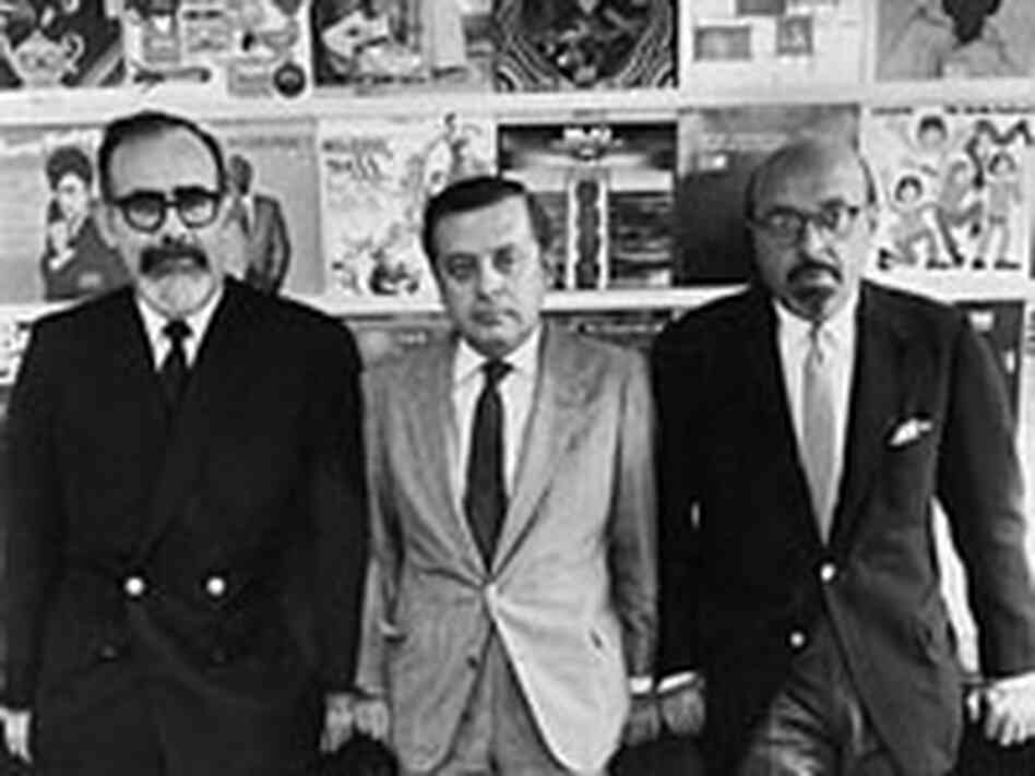 Left to right: Jerry Wexler with Atlantic Records' Nesuhi and Ahmet Ertegun.