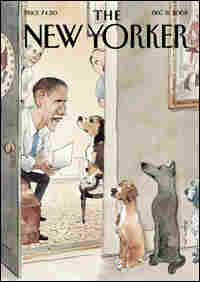 The Dec. 8, 2008, cover of 'The New Yorker' depicts President-elect Obama interviewing dogs.