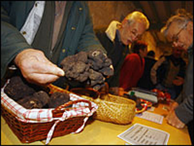 People look at black truffles during a truffle market in Jarnac in western France on Dec. 9. (AFP/Getty Images)