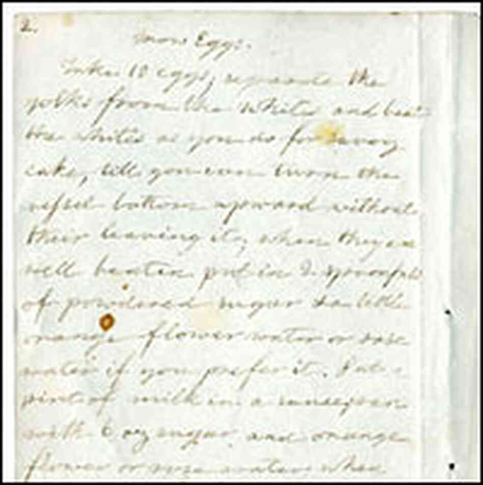 James Hemings' recipe for 'Snow Eggs,' written out by Thomas Jefferson's granddaughter, Virginia.