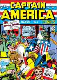 The original Captain America takes on Adolph Hitler on the cover of the comic's premier issue.