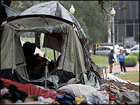 Tent in downtown New Orleans public park.