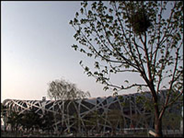 "Beijing National Stadium, known affectionately as the ""Bird's Nest,"" will hold the opening and closing ceremonies and the main track and field events for the Olympics."