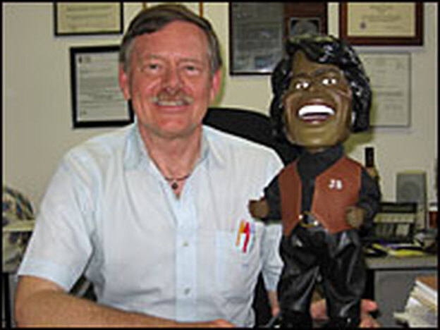 The attorney for James Brown's estate, William Coulson, uses a James Brown doll to illustrate the right of publicity.