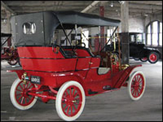 A collection of cars is on display at Detroit's Model T Automotive Heritage Complex inside the former Piquette Avenue plant. Front and center: one of the earliest versions of Ford's Model T, painted in Carmine Red. Model T's later were painted in black because black paint dried faster