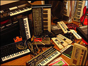 B6's studio equipment -- a jumble of keyboards, etc.