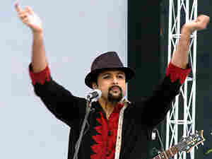 Lead singer Salman Ahmed of the Pakistani rock band Junoon performs during a concert.