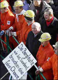 Oskar Lafontaine with miners in Saarbrücken, Germany, on March 5, 2008.
