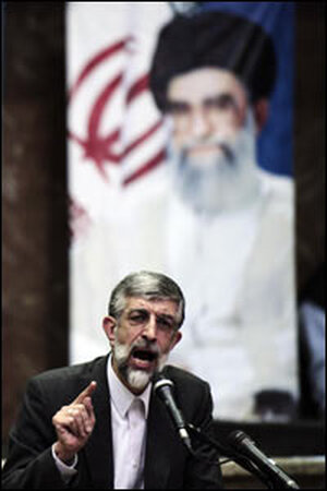 Iranian parliament speaker Gholam Ali Haddad Adel speaks during a conservative rally